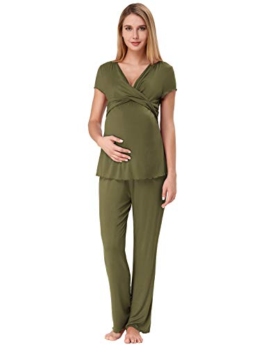 Zexxxy Women Ultra Soft Maternity & Nursing Pajama Set Pregnancy Sleepwear ZE0045