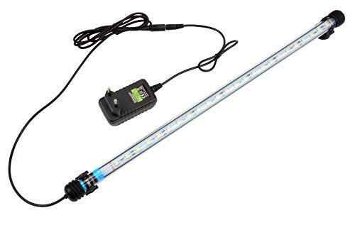 NICREW Weiß Leuchte LED Aquarium Beleuchtung, Aquarium Tauchlampen 5W 48cm Unterwasser Kristallglas Leuchten, LED Aquarium Licht Lampe geeignet für Salzwasser und Süßwasser
