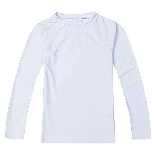 LACOFIA Traje de baño Infantil Camiseta de baño de Manga Corta para niños Rashguard con protección Solar Secado rapido Blanco 128