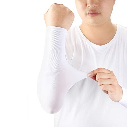 ioutdoor Manicotto Braccio UV UPF 50 Protezione, Elastica, Traspirante, Antiscivolo, Resistente al Pilling, Manicotti Compressione Braccia per Donna Uomo, 1 Paio (Bianca)
