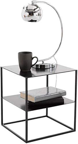 YWN Mesa de Noche de Hierro Forjado Mesa de casillero Minimalista Nordic Armario de Vidrio Templado Estante de Estar/Mesa de café, D15.7xh17.7