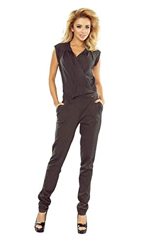 numoco Overall Jumpsuit tailliert 2 Taschen ärmellos V-Ausschnitt Wickel-Optik S-XL, Farbe:Graphit, Größe:36