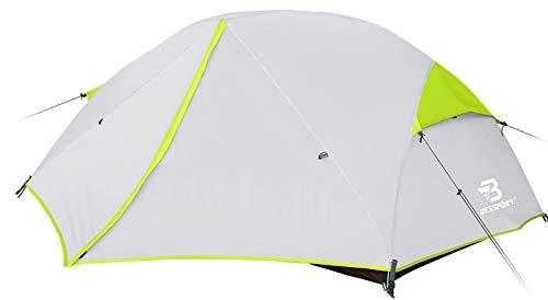 Bessport Tienda de Campaña 2 Personas Ligero con Dos Puertas A Prueba de UV/Viento Fuerte/Lluvia para Trekking, Campamento, Playa, Aventura, etc (Green)