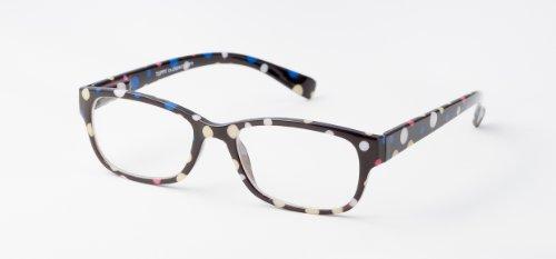 Loudspecs - gafas de leer Tuppy +2,5 con motivo de lunares negro, blanco y amarillo, hombre y mujer