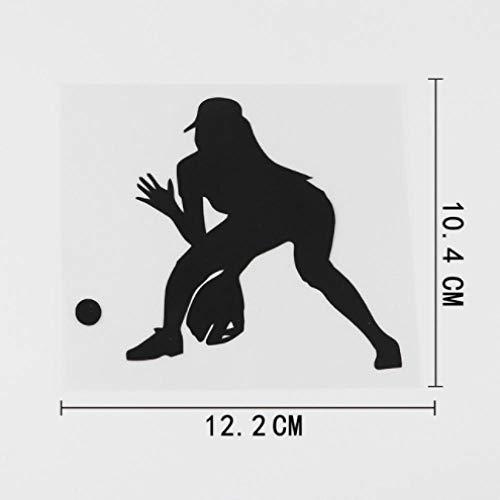 GenericBrands 3 Piezas Pegatina de Coche 12,2 CM X 10,4 CM Chica Atleta Softbol béisbol calcomanía Vinilo Coche Pegatina Negro
