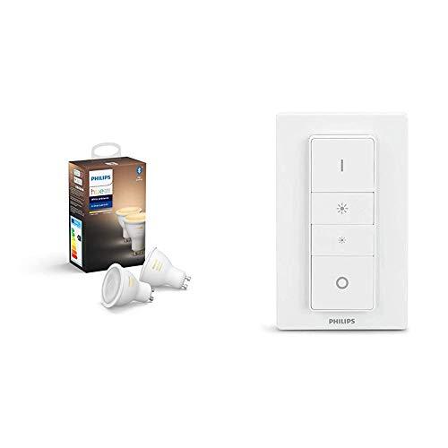 Philips Hue Pack de 2 Bombillas Inteligentes LED GU10, con Bluetooth, Luz Blanca de Cálida a Fría + Hue Interruptor / Mando Inteligente Inalámbrico, Portátil, Posibilidad de Montaje en Pared