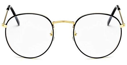 Boner Vrouw Bril Monturen Metalen Ronde Brilmontuur Heldere lens Eyeware Zwart Zilver Goud Oogglas, QE07-5