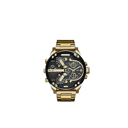 OMMO LEBEINDR Hombres Casual Reloj analógico de Cuarzo con Acero Brazalete Calendario de la Manera Genuina de Gaza Reloj de Pulsera - Batería Incluida Regalo del Reloj (Oro)