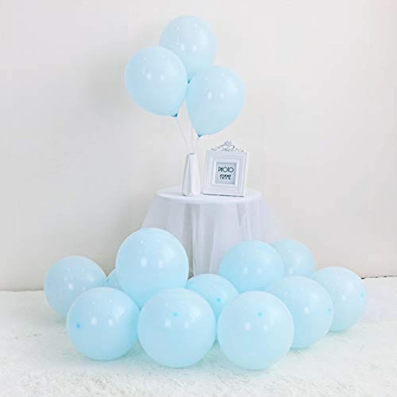 LOKMAN 100Pcs Macaron Blue Party Balloons for Wedding, Baby Shower, Girls Birthday Party Decoration. 10 Inch (Blue)