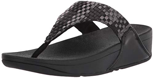 FitFlop Women's Lulu Silky Weave Toe-Post Sandals, Black, 10