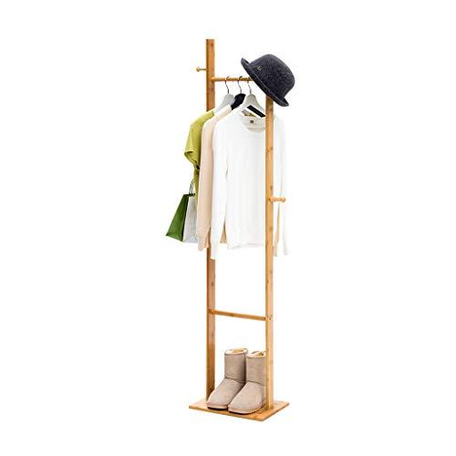 Râteliers multi-usages Portemanteau Simple Type de Sol Solide Bois Chambre Cintre Rack étagère de Stockage à la Maison Casiers (Color : Brown, Size : 33 * 24 * 163cm)