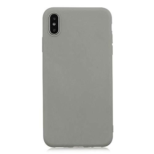 cuzz Custodia iPhone XS Max+{Film di Vetro temperato}Silicone TPU Cover Morbida Protettiva Custodia Ultra Sottile Leggero Cover-Grigio