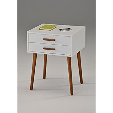 White / Dark Oak Finish Side End Table Nighstand with Two Drawer 24 H - Mid-Century Style