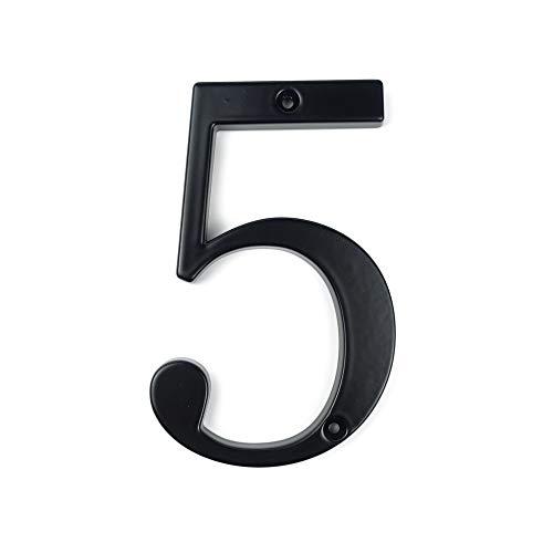 HASWARE Letrero con número de casa, 4 pulgadas (10 cm), números de puerta modernos, placa de señalización, números de dirección de casa, aleación de zinc (5, Negro)