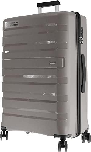 Valigia rigida METZELDER LOVITA - Cover infrangibile, 100% polipropilene, Tortora (grigio-marrone), L - Large - 95L - 75x50x29cm - 4,2kg, Valigia