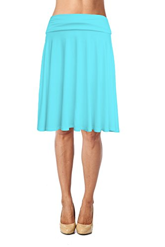 Womens Basic Soft Stretch Mid Midi Knee Length Flare Flowy Skirt Made in USA-Aqua,Large
