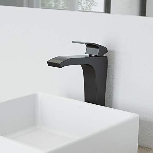 VIGO VG03018MB 12' H Blackstonian Matte Black Single-Handle Waterfall Single Hole Vessel Deck-Mount WaterSense Bathroom Sink Faucet