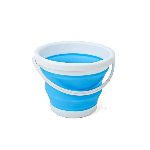 (エーアンドアイ) 折りたたみバケツ おしゃれ シリコン ソフト コンパクト 最大 10L アウトドア 洗車 洗濯 お風呂 SG(1つ ブルー)