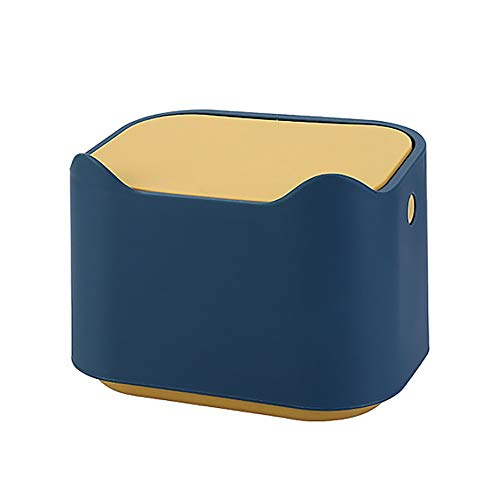 YiXing Cesta de basura pequeña para escritorio, 1 unidad, suministros de oficina, papelera, papelera, caja de barril con tapa, botón pulsador, 1 unidad (color azul)