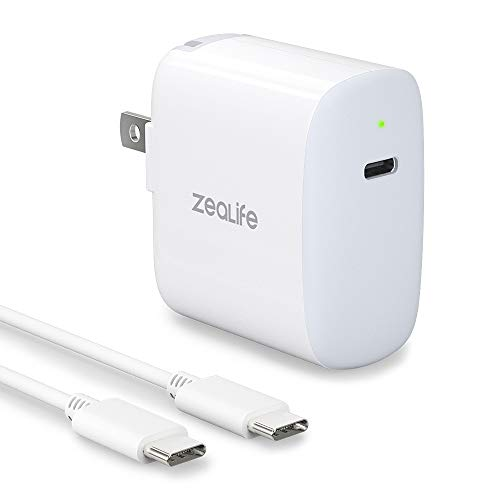 USB C Fast Charger, ZeaLife 30W Type C Power Adapter for MacBook Retina 12 inch/Air iPad Pro 12.9 Samsung Galaxy Note 10/10+ Google Pixel LG Moto Nintendo Switch with Foldable Plug 6.6ft USB C Cable