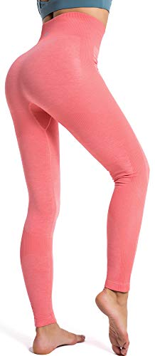 RUNNING GIRL Women Butt Lift Seamless Yoga Leggings High Waisted Tummy Control Workout Leggings Compression Skinny Tights (2334 Coral Pink, S)