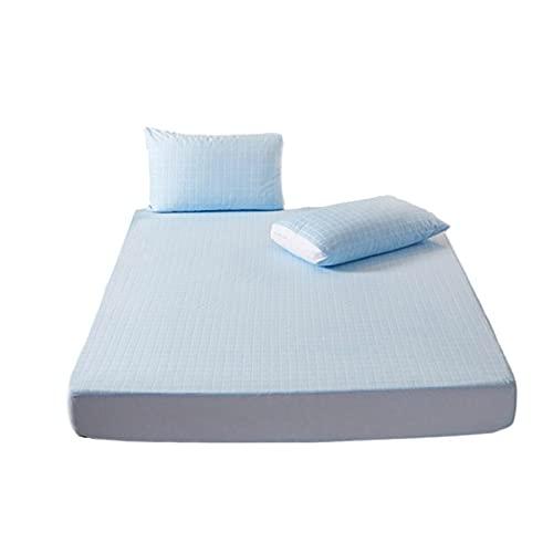YUDIZWS Funda Protector De Colchón Impermeable Suave Y Transpirable Lavable A Máquina Felpa Algodón Hipoalergénico Anti Ácaros Cubierta Antibacteriana (Color : Blue, Size : 90x200cm)