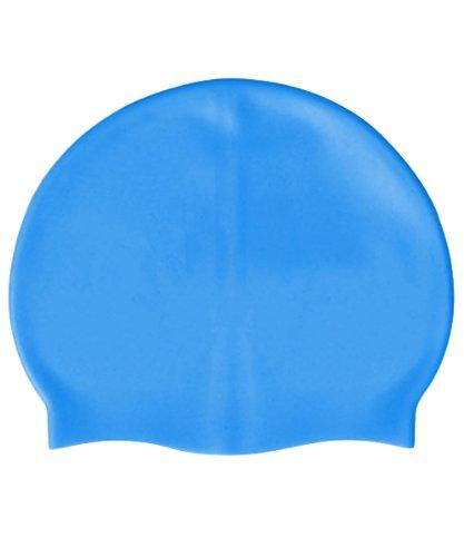 Bonnet de bain 100% silicone taille unique de couleur Bleu - Visiodirect -