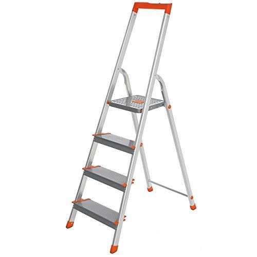 SONGMICS Leiter 4 Stufen, Aluleiter, 12 cm breite Stufen, Stehleiter, Werkzeugschale, rutschfest, bis 150 kg belastbar, TÜV Rheinland GS-Zertifikat, erfüllt EN131, grau-orange GLT004WT01