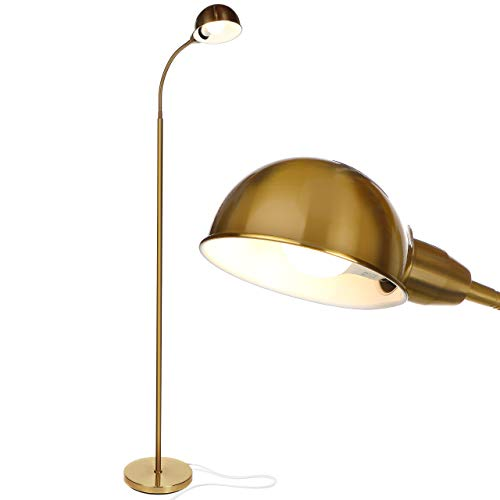 Brightech Regent - LED Reading, Craft & Task Floor Lamp - Free Standing Modern Pole Light with Adjustable Gooseneck - Tall, Bright Office Light Goes Over Desk or Lash Bed - Antique Brass / Gold