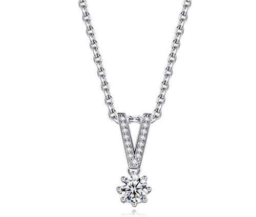 XIRENZHANG Regalo del día Carta de Plata esterlina Collar de Oro Blanco 18K clavícula Cadena Pendiente Muchacha de Las señoras de la Madre de Navidad