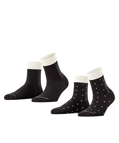 ESPRIT Damen Small Dots 2-Pack W SSO Socken, Schwarz (Black 3000), 35-38 (2er Pack)