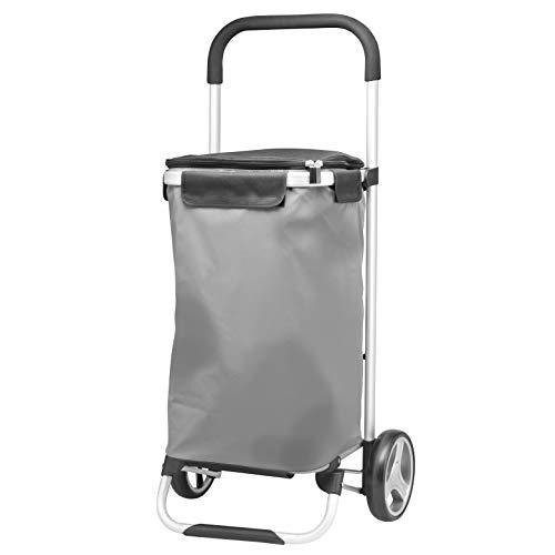 bremermann® Einkaufstrolley BRINKUM, Handwagen, Einkaufswagen mit Abnehmbarer Tasche (grau, reflektierend)
