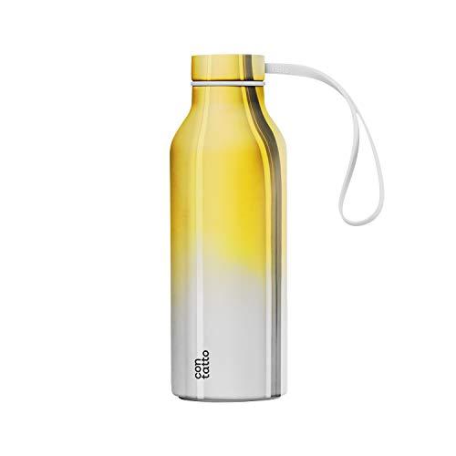 con-tatto Bottle Bottiglia Termica con 3 Pareti in Acciaio e Rame - Bevande Fredde per 25 Ore e Calde per 15 Ore - Fascia e Tappo Sport Lid Inclusi! (Gold Ombre)