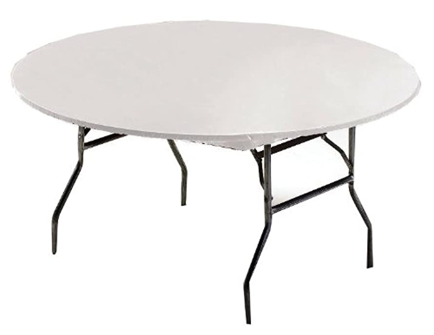Creative Converting Round Stay Put Plastic Table Cover, 60-Inch, White