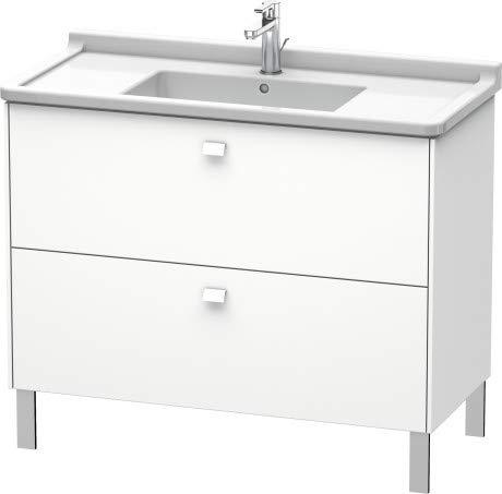 Duravit Brioso Waschtischunterbau stehend Compact 102,0 x 46,9 cm, 2 Auszüge, inkl. Siphonausschnitt und Schürze, für Waschtisch Starck 3 030410, Farbe (Front/Korpus): Weiß Matt Dekor, Griff Chrom