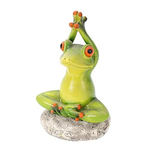 Heall Decoración del Patio de Ranas, Yoga Rana Estatua Resina pequeña Figura 3D Adornos de Escritorio jardín Animal decoración Estilo de decoración3