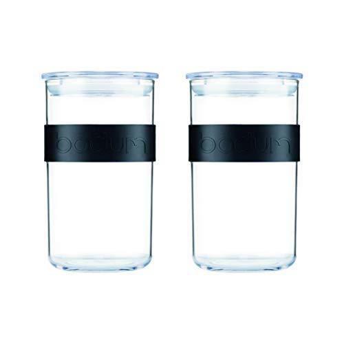 PRESSO, Set aus 2 Vorratsgläsern, Kunststoff, 1 l