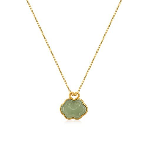 Dainty Natural Hetian Jade Ruyi Pendant Necklace, Natural Green Jade Pendant Choker, Adjustable Necklace, Luck Choker Necklace, Anniversary Gift
