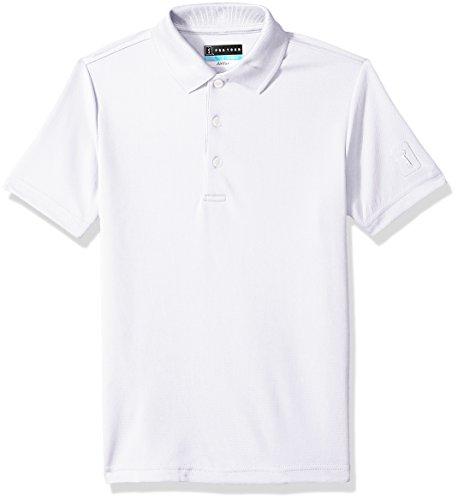 PGA TOUR Boys Short Sleeve Airflux Solid Polo Shirt, Bright White, Large (14-16)