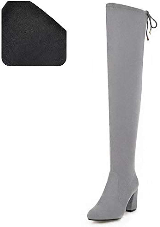HAOLIEQUAN Größe 33-48 Frau Über Knie Warme Frauen Schuhe Runde Kappe Lange Mode High Heel Stiefel Winter Schuhe  | Elegant und feierlich