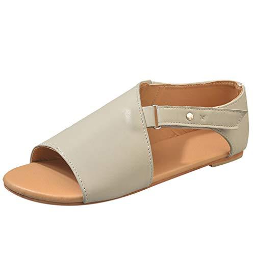 ZIYOU Frauen Sommer Peep Toe Sandalen Glattleder Einfarbige Strand Atmungsaktiv Flache Klettverschluss Schuhe(Grau,43 EU)
