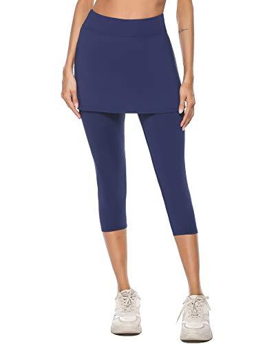 iClosam Pantalones de Falda de Tenis y Golf para Mujer Falda Deportivo con Bolsillos Tela Elástica(M,Azul)