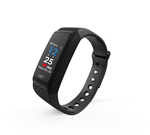 ZTYY Pressione Intelligente Wristband della vigilanza di Ossigeno del Sangue SmartWatch Sangue Heart Rate Monitor Intelligente Bracciale Pedometro IP67 Impermeabile Smartband (Color : Black)