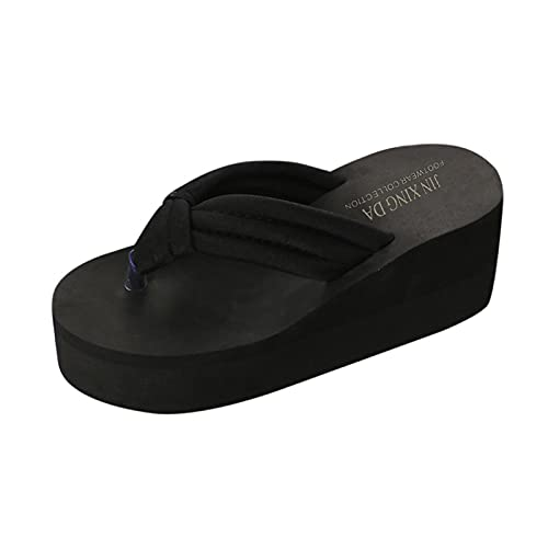 Fullwei Sandals for Women Casual Platform,Women Non-Slip Flip Flops Ladies Clip Toe Orthotic Wide Width Slip On Thong Walking Sandals Shoe (Black, 37)
