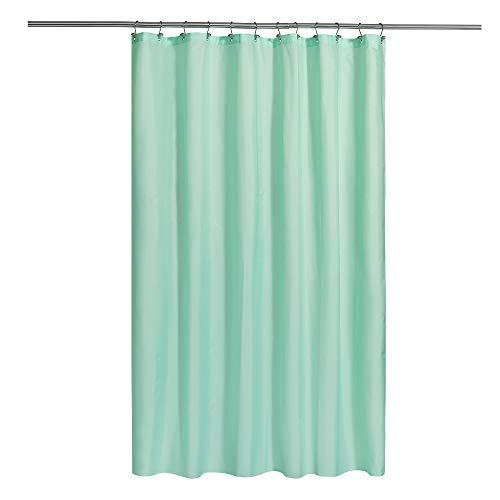 Duschvorhang aus Stoff mit Magneten, Hotelqualität, maschinenwaschbar, wasserabweisend, mintgrün, 72 x 72 cm