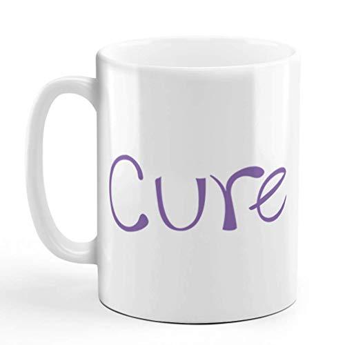 N\A Taza de café de 11 onzas Cure Purple Cancer Support Cause Taza de té de cerámica con diseño Exclusivo