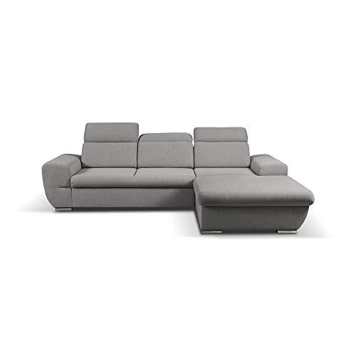 mb-moebel Ecksofa mit Schlaffunktion Eckcouch mit Bettkasten Sofa Couch Wohnlandschaft L-Form Polsterecke Fresno (Grau, Ecksofa Rechts)