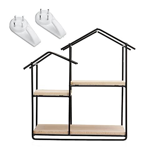 Maoviwq Estantería flotante de metal de madera para colgar en la pared, estante de exhibición para casa, para sala de estar, cocina (tamaño: tamaño libre; color: negro)