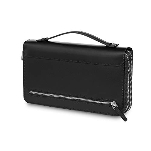 Moleskine portefeuille en cuir, pochette avec poignée en cuir, pochette avec deux compartiments externes et 12 poches pour cartes de crédit et tickets, 23 x 13 x 4 cm, noir