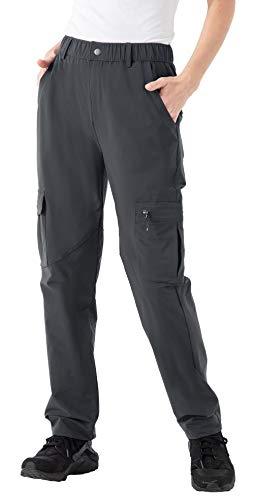 YSENTO Pantalones de senderismo para mujer, impermeables, de secado rápido, ligeros, transpirables, resistentes al viento, UPF 50, para camping, trabajo, con bolsillos con cremallera gris oscuro L